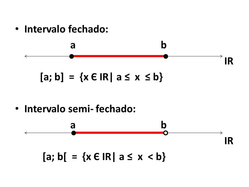Intervalo fechado: a b. IR. [a; b] = {x Є IR| a ≤ x ≤ b} Intervalo semi- fechado: